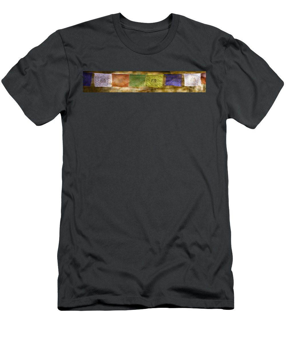 Buddhism Men's T-Shirt (Athletic Fit) featuring the photograph Tibetan Prayer Flags by Peter v Quenter