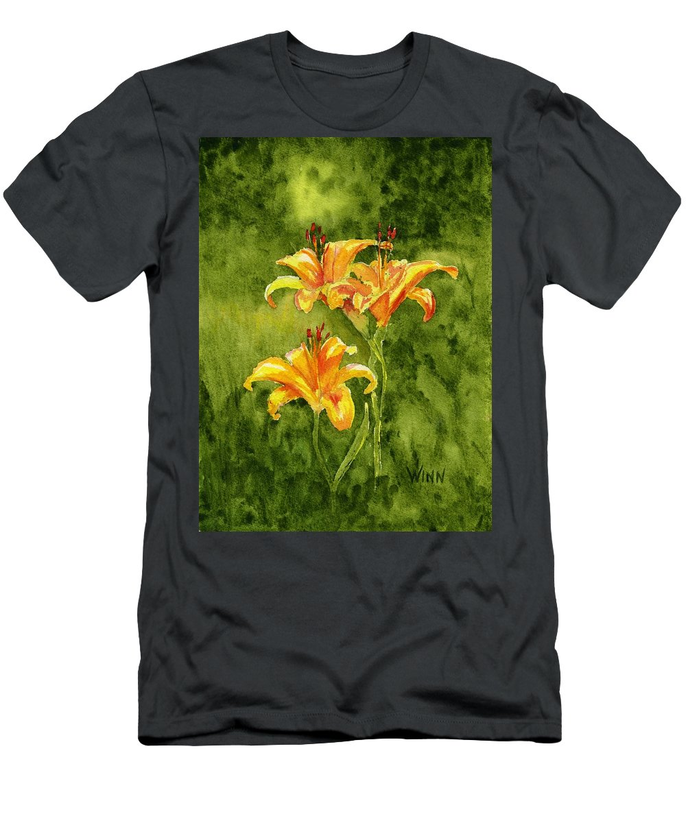 Floral Men's T-Shirt (Athletic Fit) featuring the painting Tiger Lilies by Brett Winn