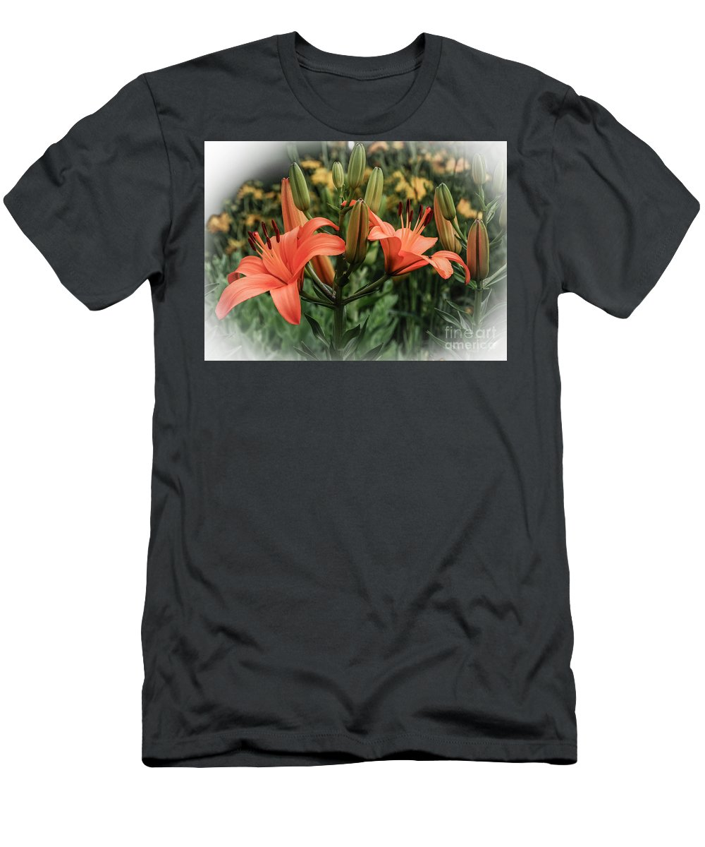 Tiger Lillies Men's T-Shirt (Athletic Fit) featuring the photograph Tiger Lillies by Grace Grogan