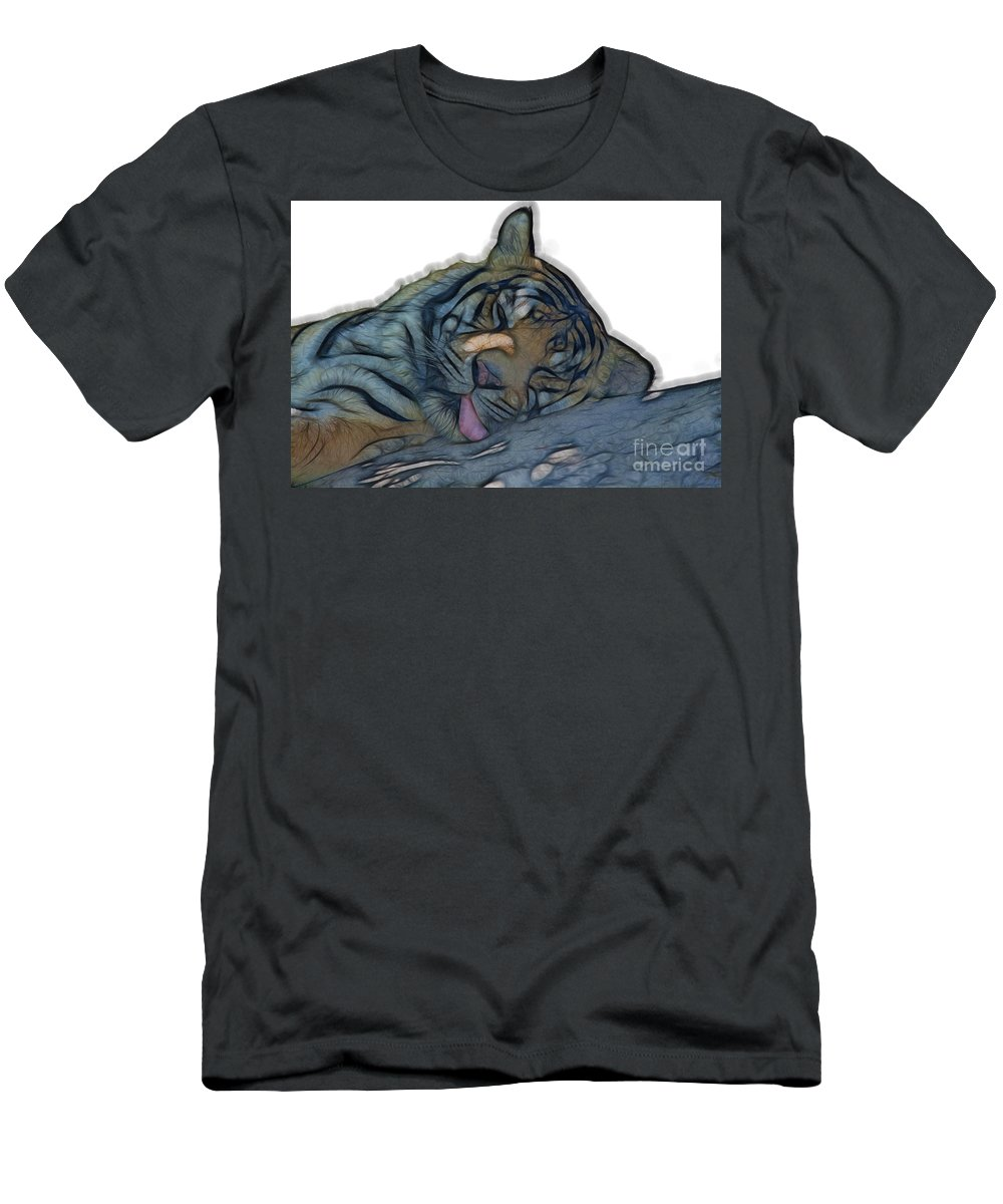 Tiger Men's T-Shirt (Athletic Fit) featuring the photograph Tiger R And R V4 by Douglas Barnard