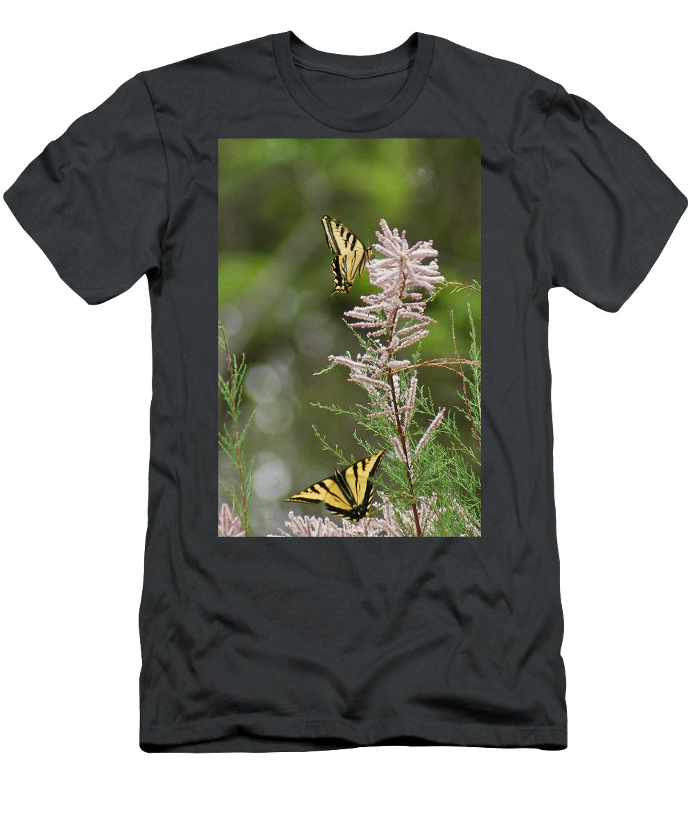 Bugs Men's T-Shirt (Athletic Fit) featuring the digital art Tiger Swallowtails by Ernie Echols