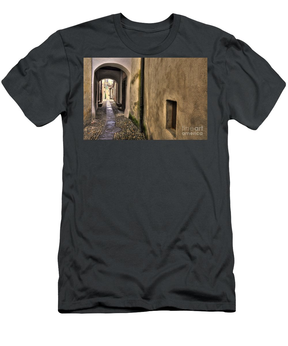 Alley Men's T-Shirt (Athletic Fit) featuring the photograph Tight Alley With Arch by Mats Silvan
