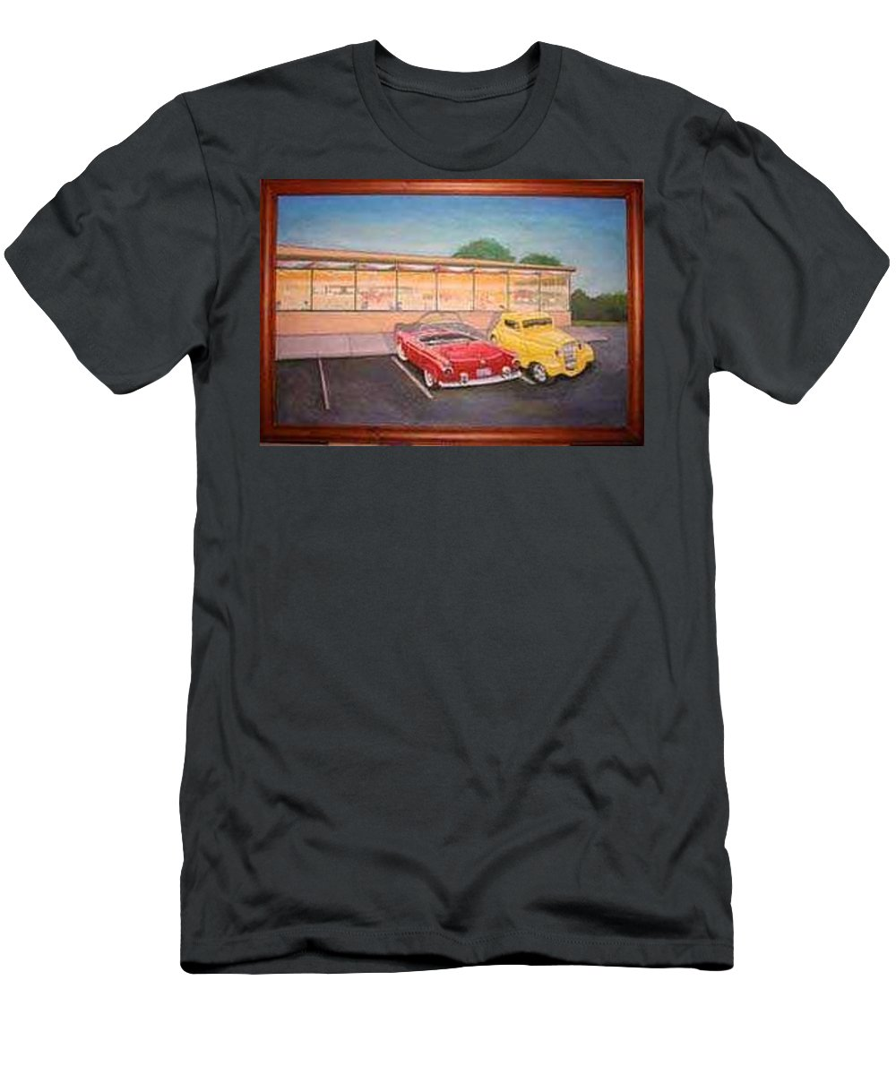 Rick Huotari Men's T-Shirt (Athletic Fit) featuring the painting Times Past Diner by Rick Huotari