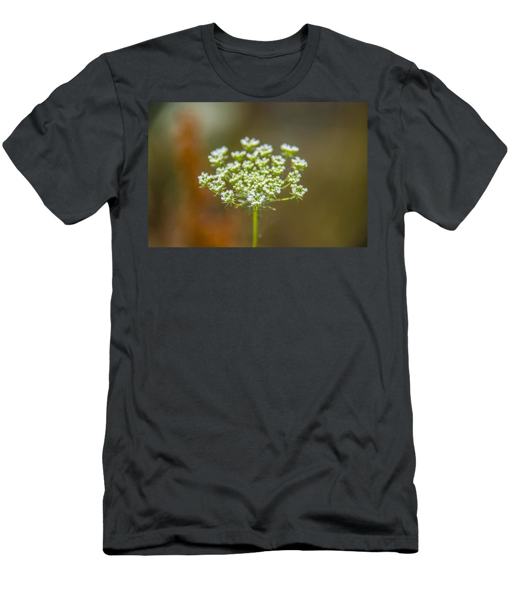 Tiny White Flowers Men's T-Shirt (Athletic Fit) featuring the photograph Tiny White Flowers by Sotiris Filippou