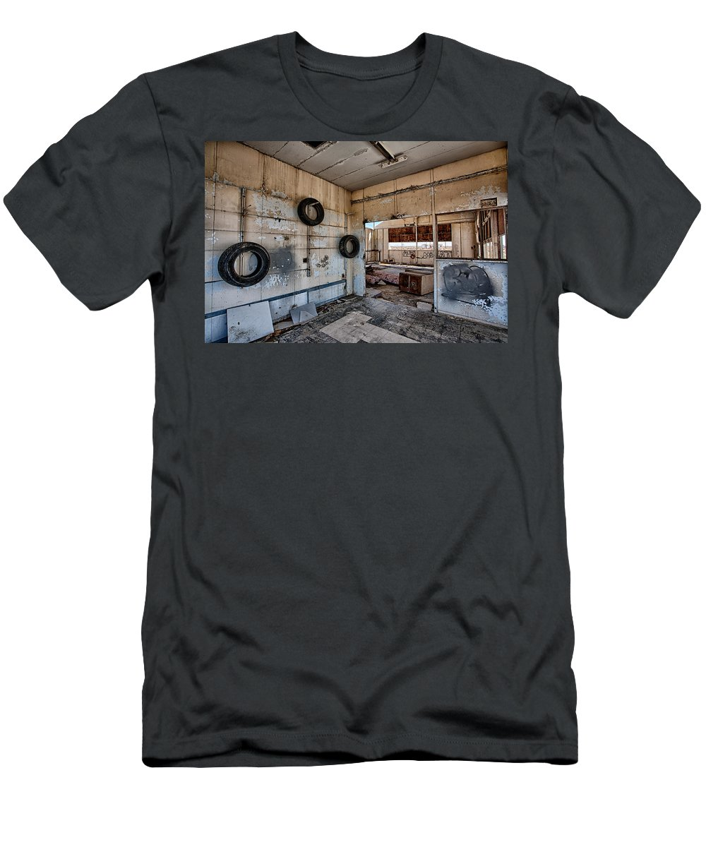 Gas Station Men's T-Shirt (Athletic Fit) featuring the photograph Tired Building by Peter Tellone