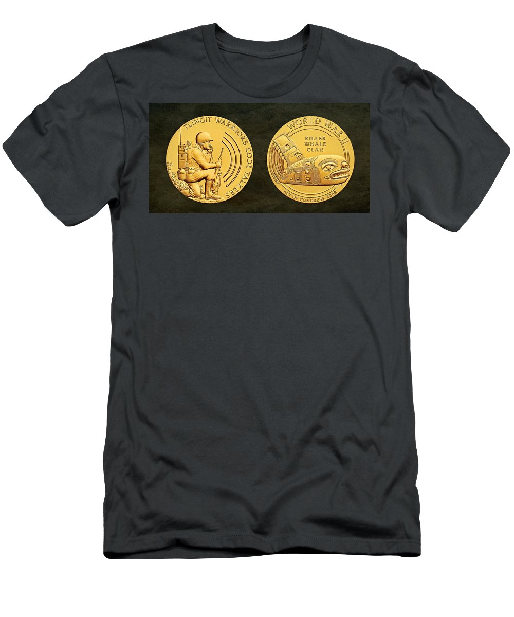 Tlingit Tribe Men's T-Shirt (Athletic Fit) featuring the photograph Tlingit Tribe Code Talkers Bronze Medal Art by Movie Poster Prints