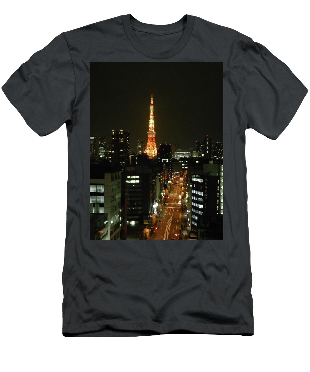 Guy Whiteley Photography Men's T-Shirt (Athletic Fit) featuring the photograph Tokyo Tower At Night by Guy Whiteley