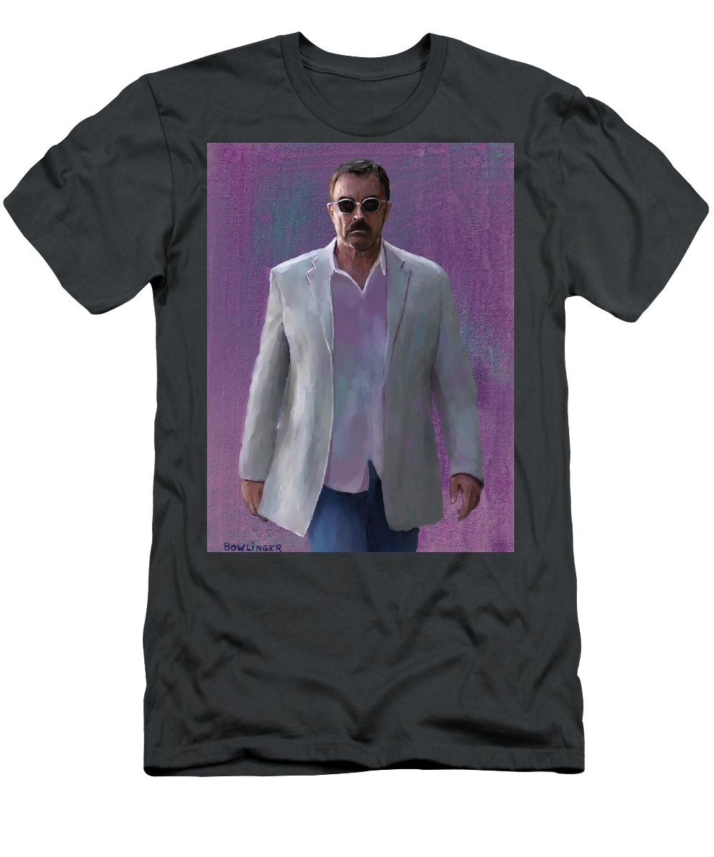Figure Men's T-Shirt (Athletic Fit) featuring the painting Tom Selleck by Scott Bowlinger