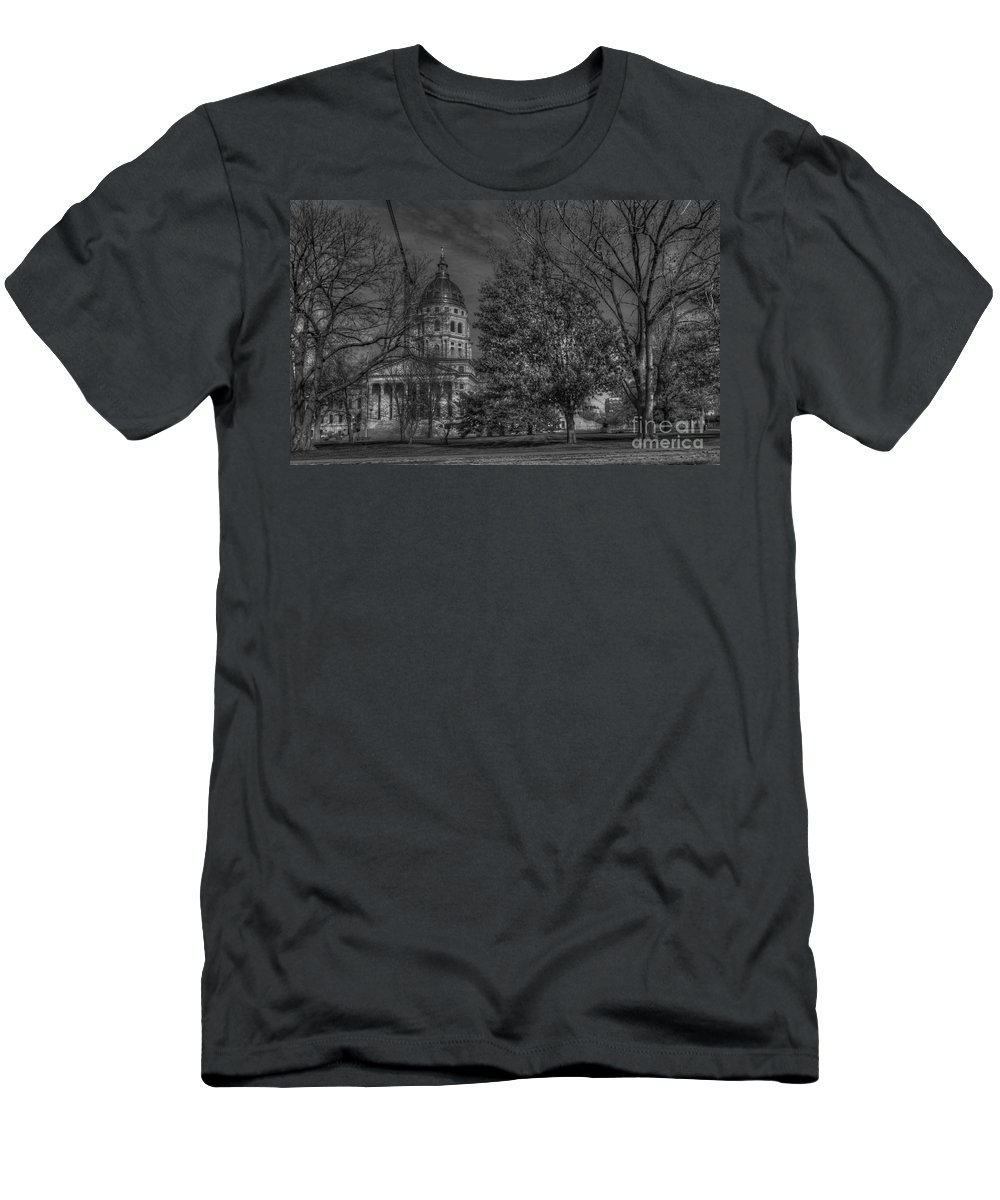 Topeka Capital Men's T-Shirt (Athletic Fit) featuring the photograph Topeka Capital by Liane Wright