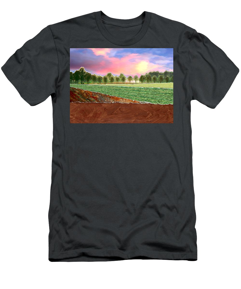Paper Torn Collage Landscape Trees Horizon Field Sunset Plowed Men's T-Shirt (Athletic Fit) featuring the painting Torn Paper Fields Of Green And Brown by Elaine Plesser