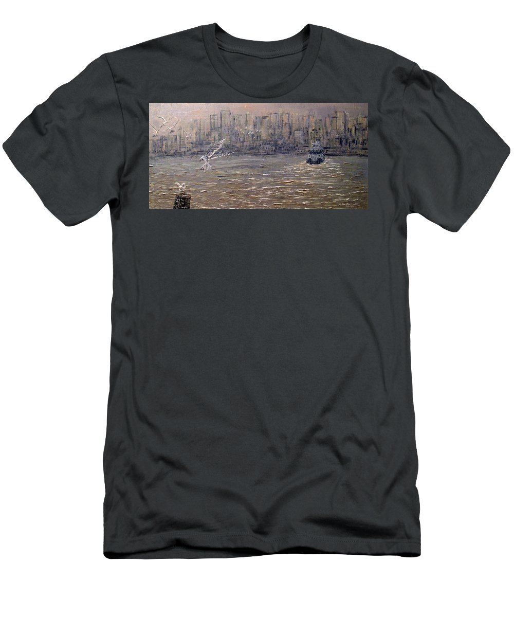 Toronto Men's T-Shirt (Athletic Fit) featuring the painting Toronto Harbor Morning by Ian MacDonald