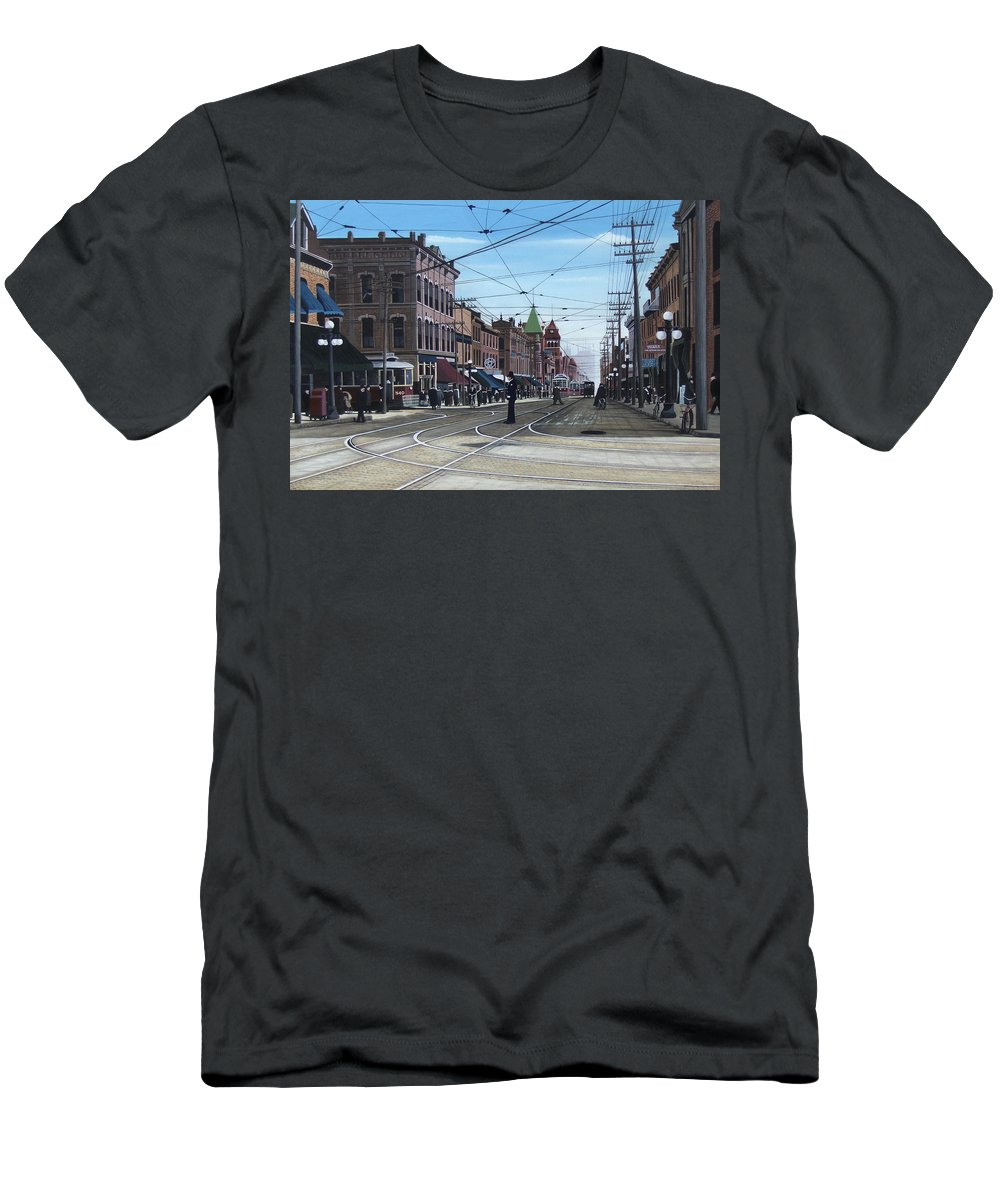 Streetscapes Men's T-Shirt (Athletic Fit) featuring the painting Toronto Yonge And College 1916 by Kenneth M Kirsch