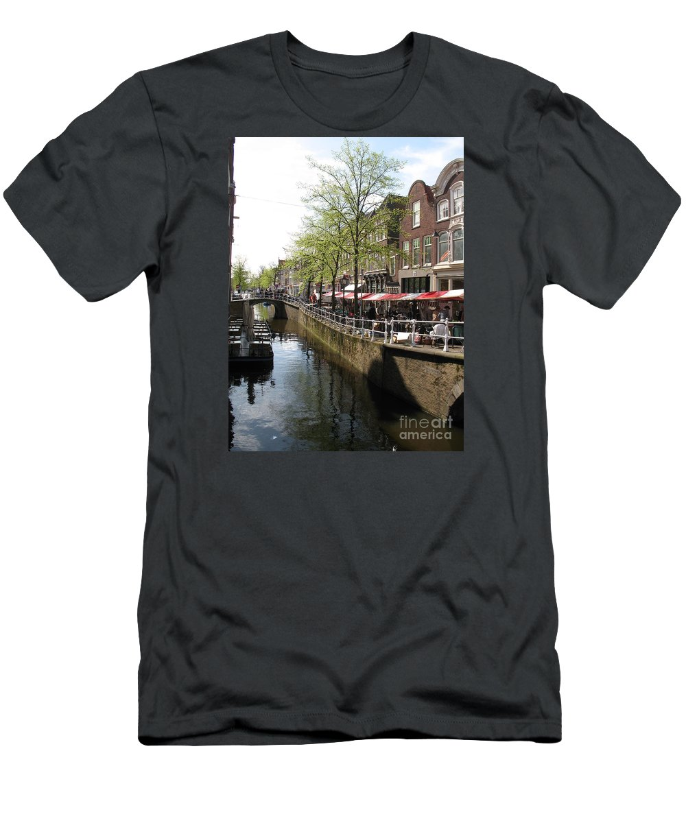 Town Canal Men's T-Shirt (Athletic Fit) featuring the photograph Town Canal - Delft by Christiane Schulze Art And Photography