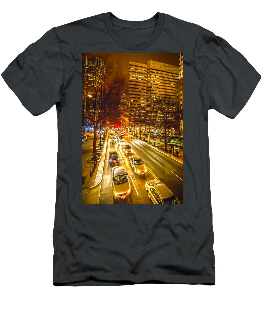 District Men's T-Shirt (Athletic Fit) featuring the photograph Traffic In A Big City by Alex Grichenko