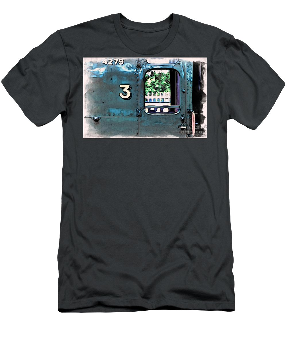 Bluebell Railway Men's T-Shirt (Athletic Fit) featuring the digital art Train 4279 by Paul Stevens