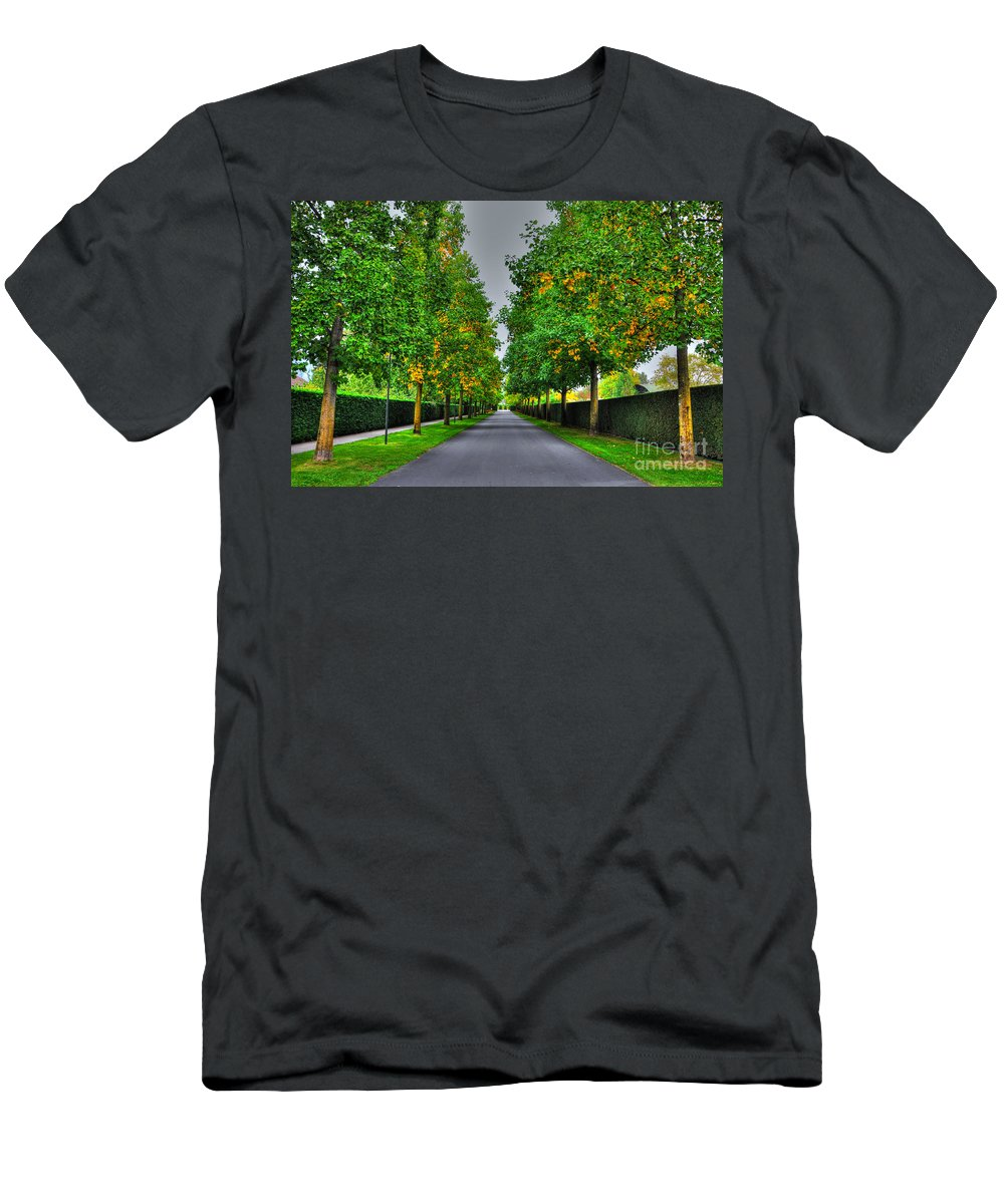 Alley Men's T-Shirt (Athletic Fit) featuring the photograph Tree Alley by Mats Silvan