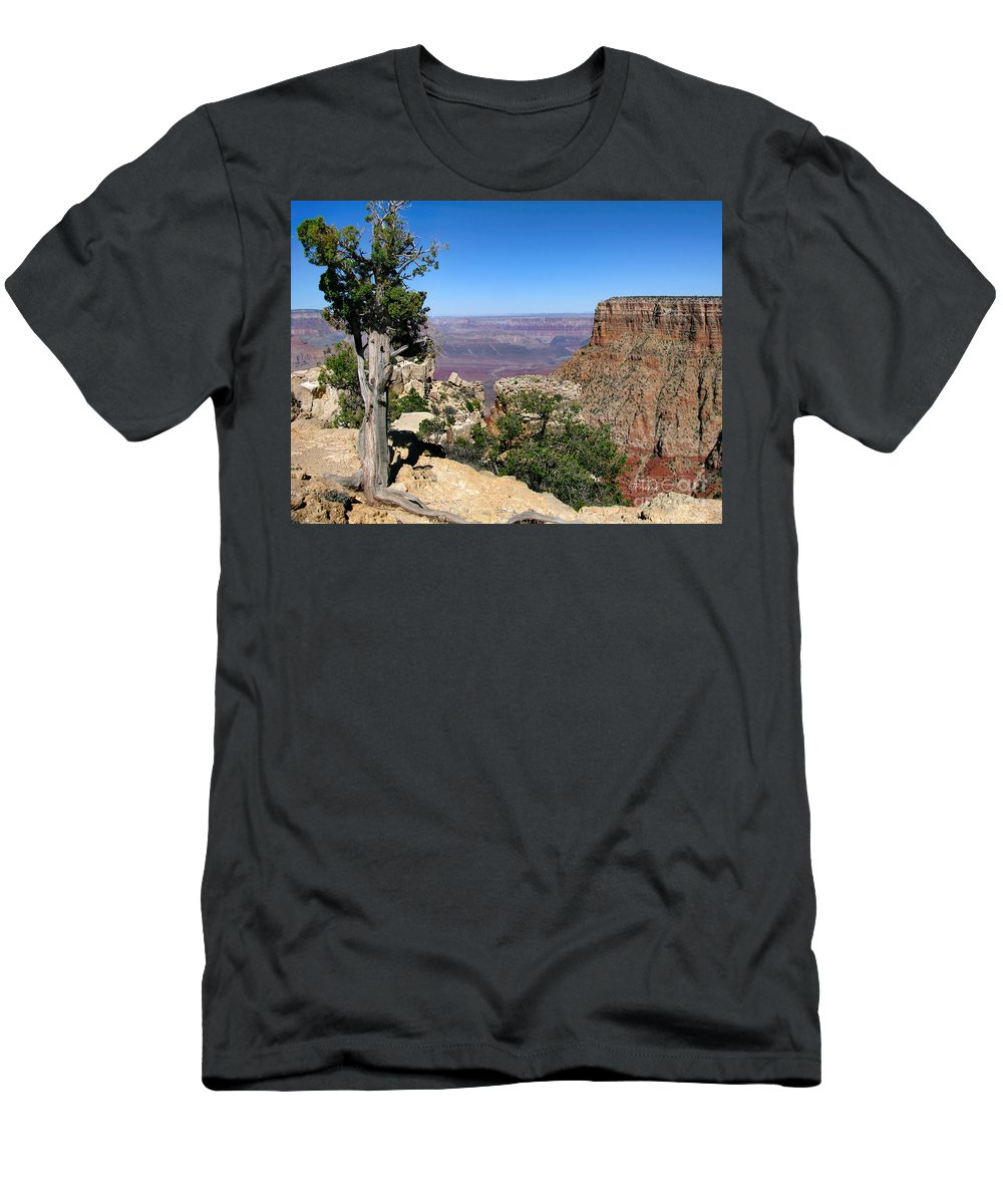 Grand Canyon Men's T-Shirt (Athletic Fit) featuring the photograph Tree In The Grand Canyon by Jennie Breeze