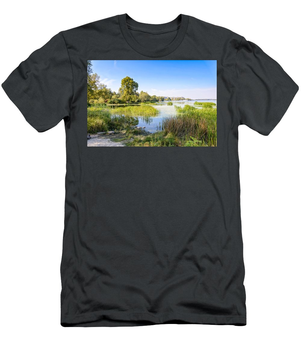 Dnieper Men's T-Shirt (Athletic Fit) featuring the photograph Trees And Reeds Close To The River by Alain De Maximy