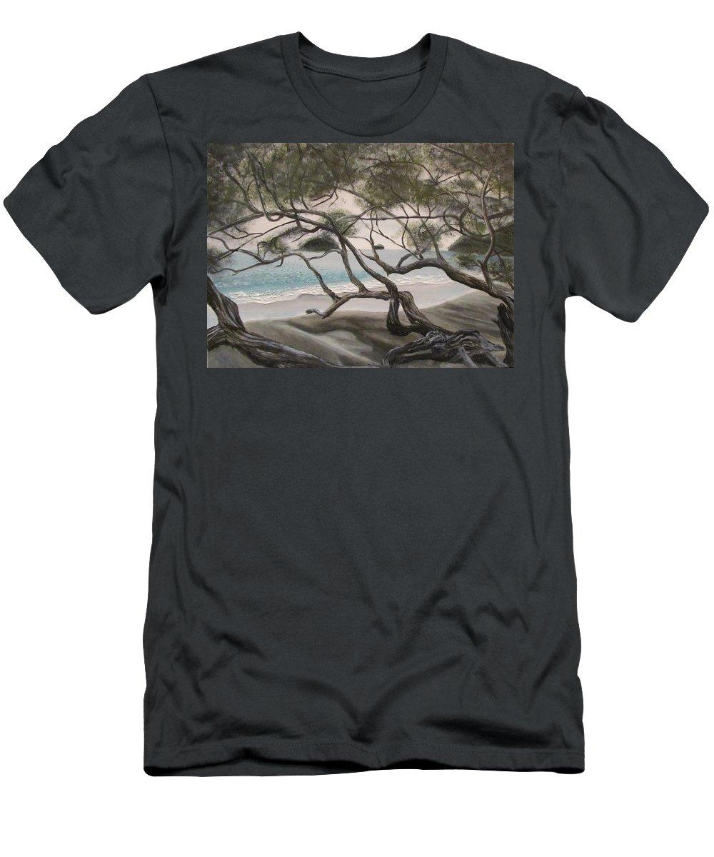 Tree Men's T-Shirt (Athletic Fit) featuring the painting Trees In Costa Rica by Svetlana Rudakovskaya