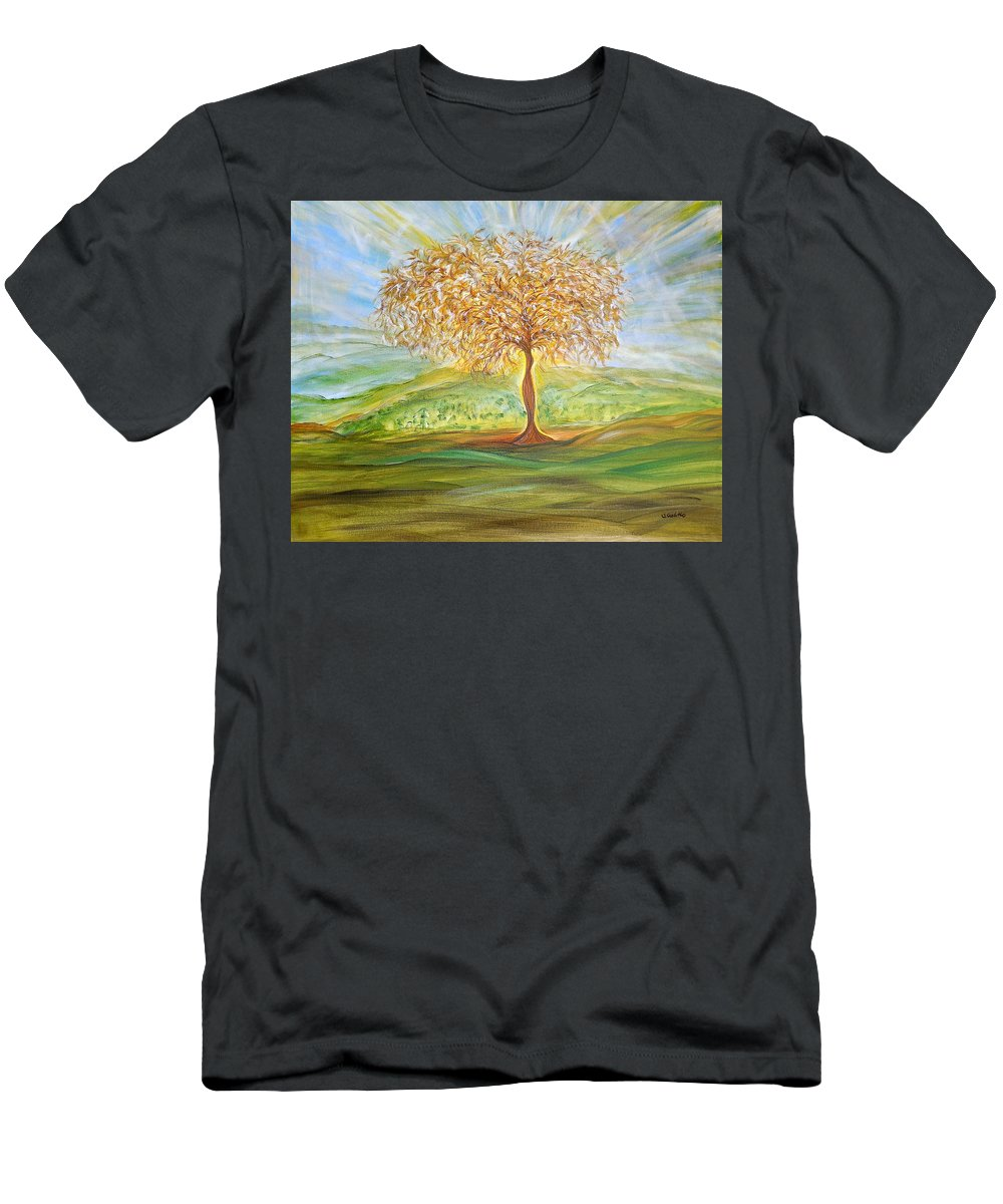 Whimsical Landscape Men's T-Shirt (Athletic Fit) featuring the painting Treesa by Sara Credito