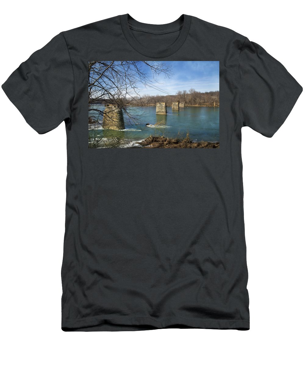 Train Men's T-Shirt (Athletic Fit) featuring the photograph Trestle Of The Past by Betsy Knapp