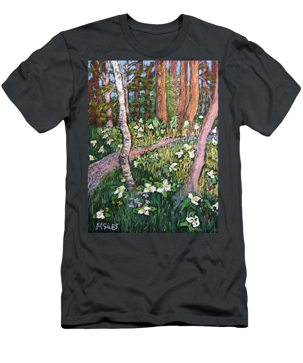 Door County Men's T-Shirt (Athletic Fit) featuring the painting Trillium Treasure Hunting by Madonna Siles