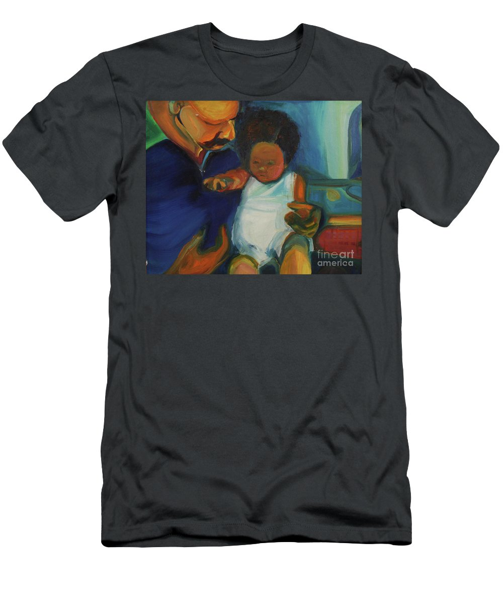 Oil Painting Men's T-Shirt (Athletic Fit) featuring the painting Trina Baby by Daun Soden-Greene