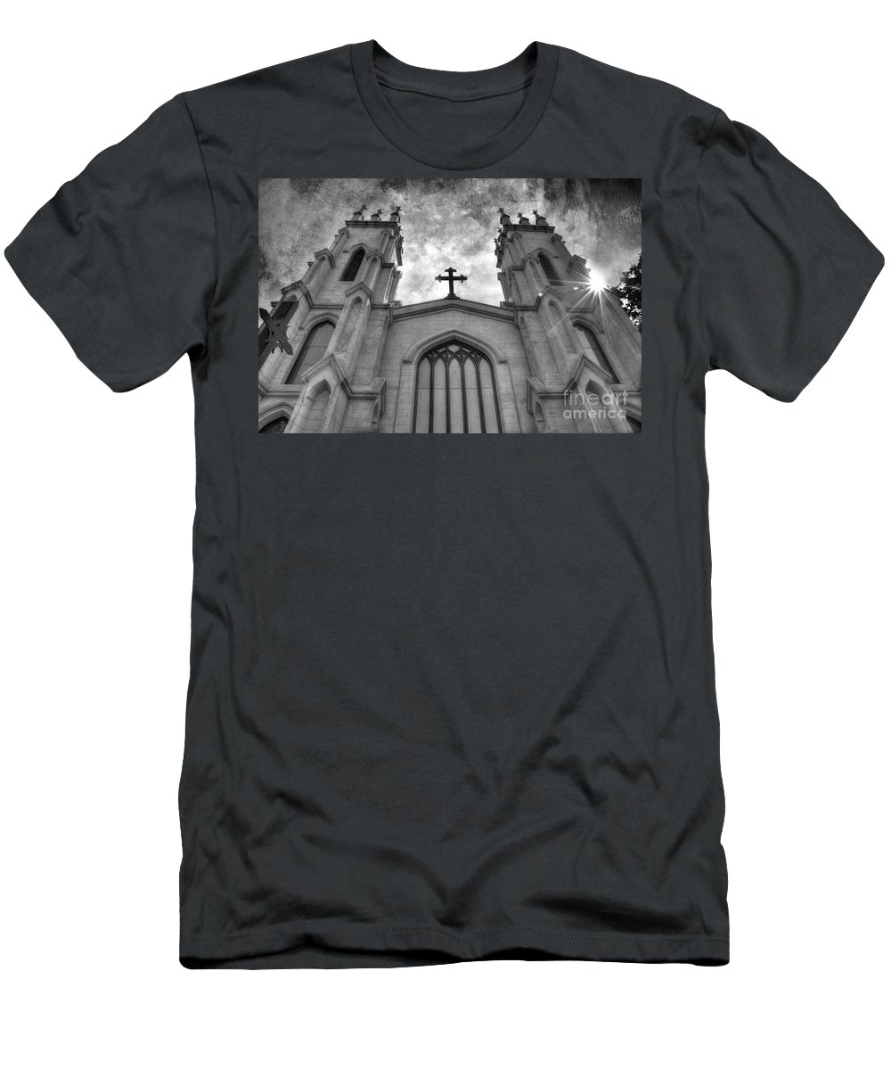 Church Men's T-Shirt (Athletic Fit) featuring the photograph Trinity Episcopal Cathedral by Michael Eingle