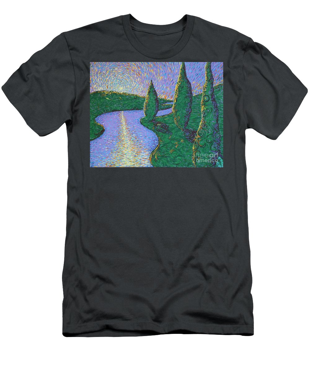 Landscape Men's T-Shirt (Athletic Fit) featuring the painting Trinity River by Stefan Duncan