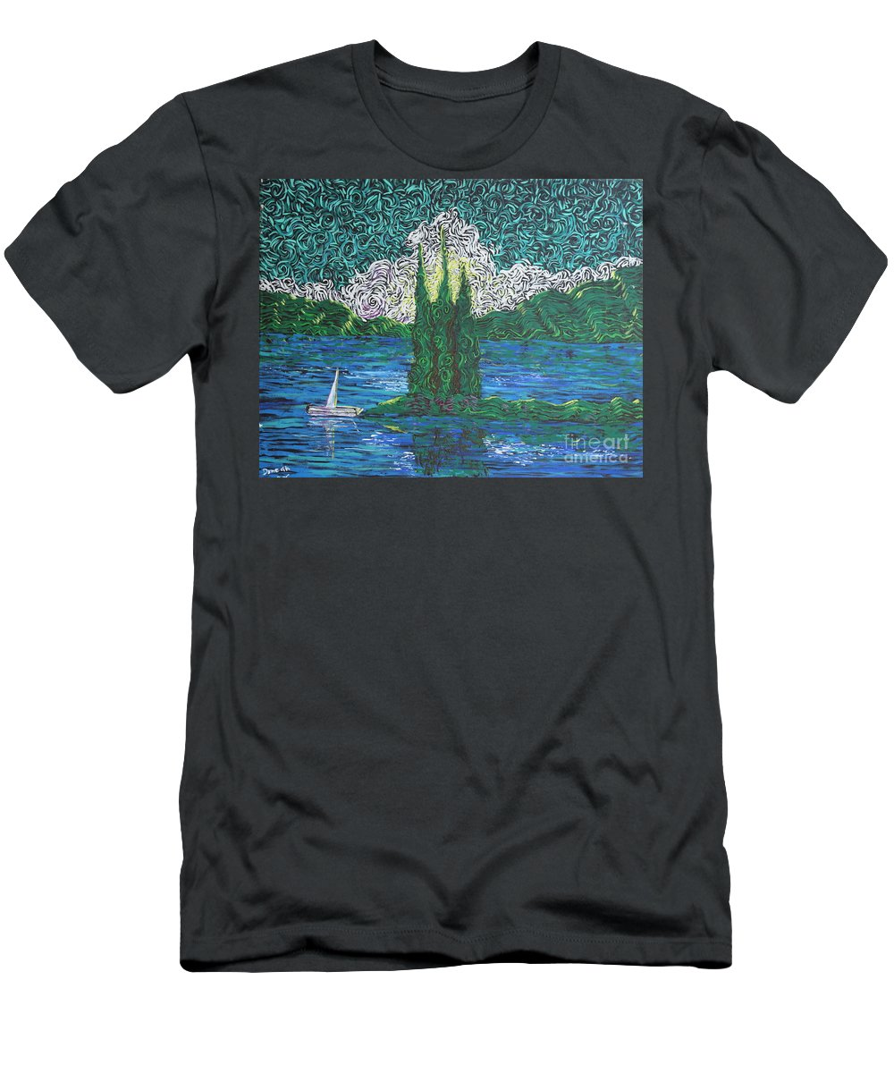 Squigglism Men's T-Shirt (Athletic Fit) featuring the painting Trinty Lake Series IIi by Stefan Duncan