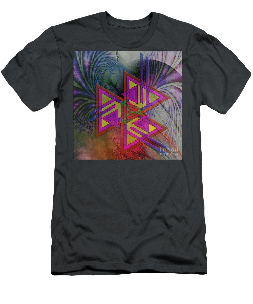 Triangles Men's T-Shirt (Athletic Fit) featuring the digital art Triple Harmony - Square Version by John Beck