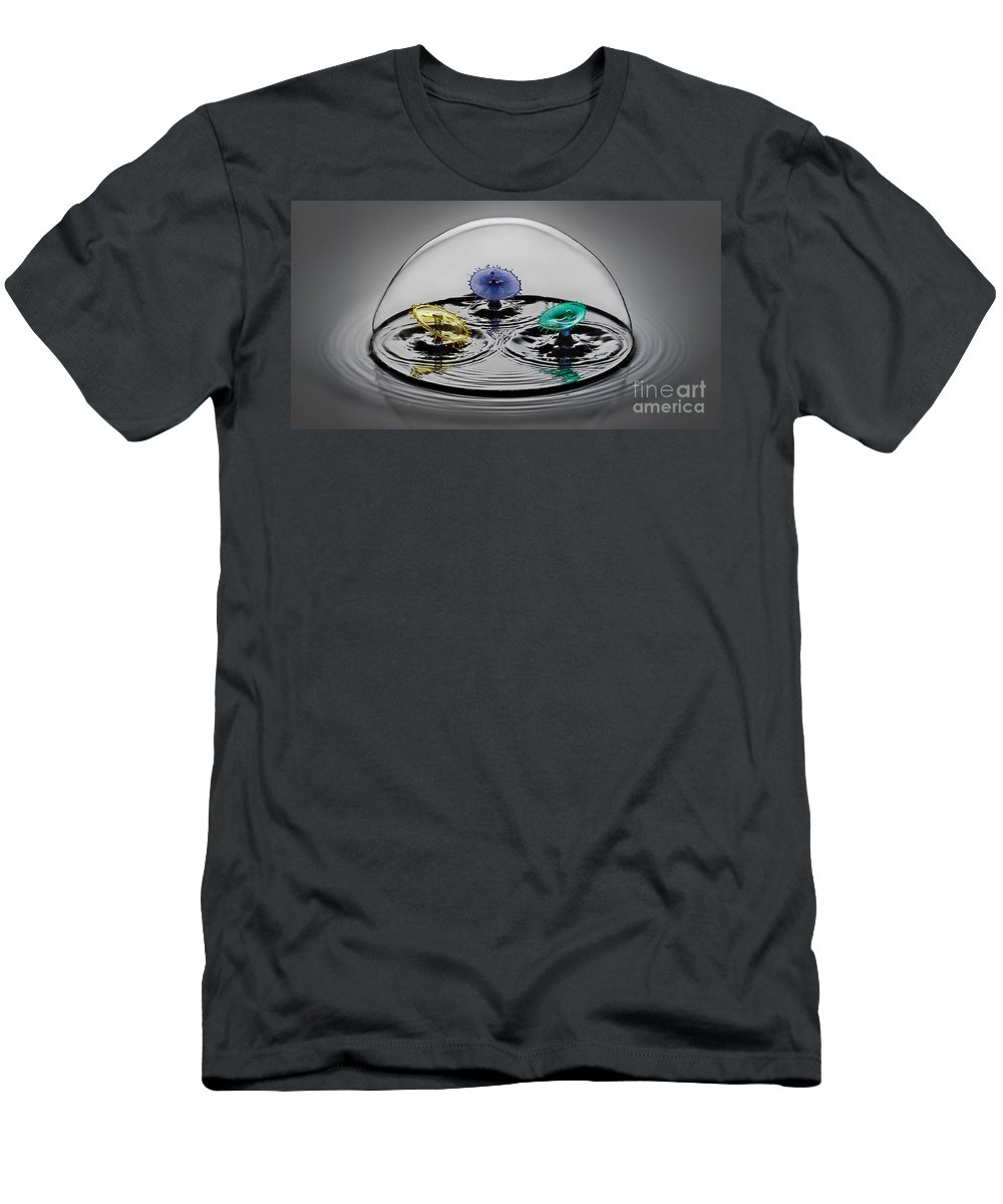 Water Drop Collision Men's T-Shirt (Athletic Fit) featuring the photograph Triple Play by Susan Candelario