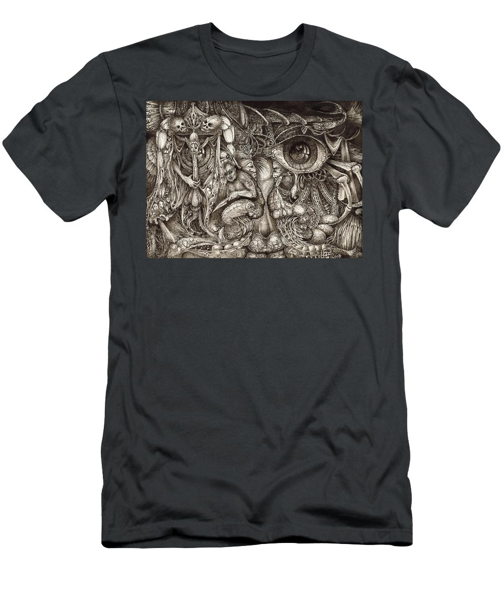 Surreal Men's T-Shirt (Athletic Fit) featuring the drawing Tripping Through Bogomils Mind by Otto Rapp