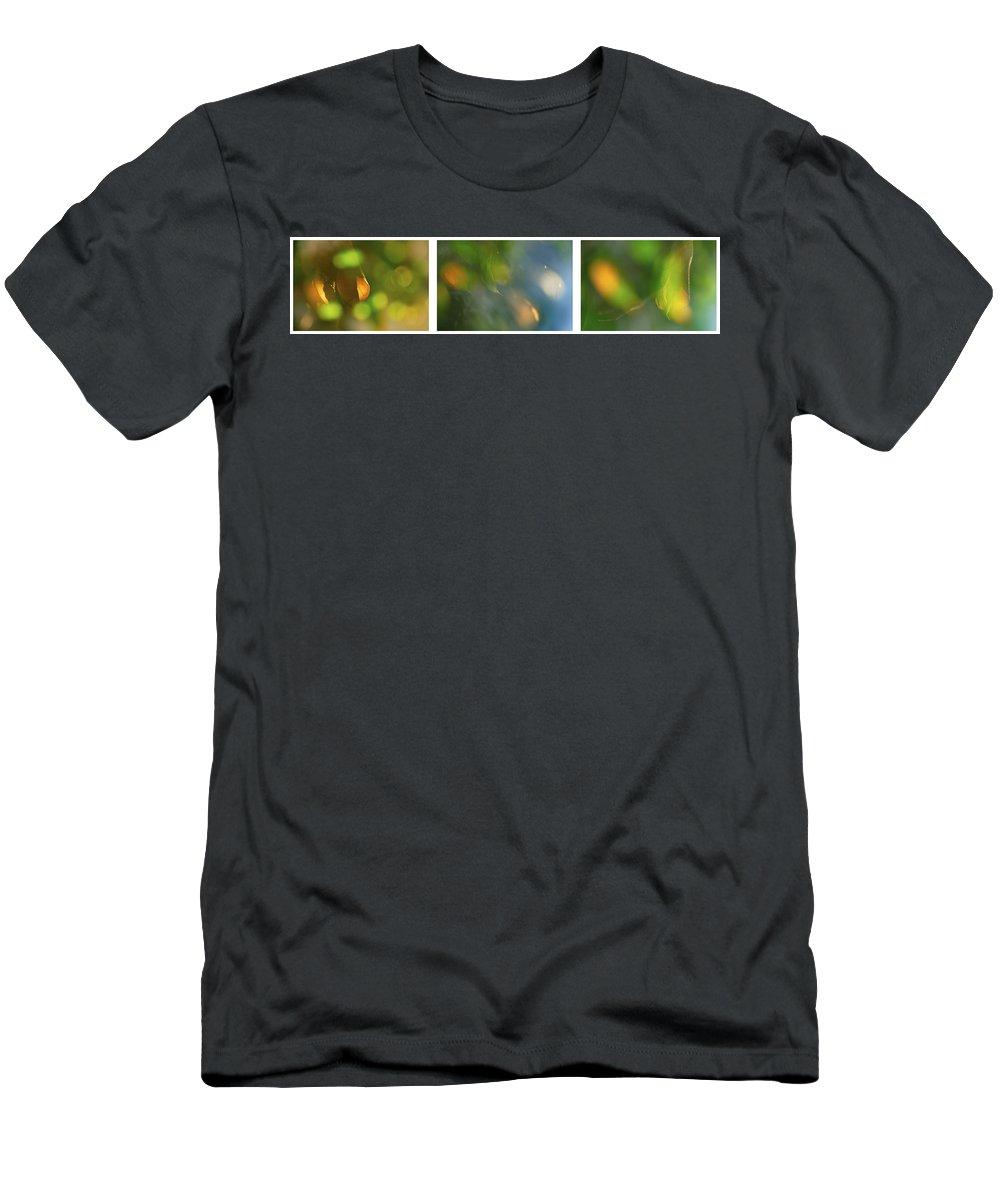 Triptico Hojas Men's T-Shirt (Athletic Fit) featuring the photograph Triptico Hojas Luminosas by Guido Montanes Castillo