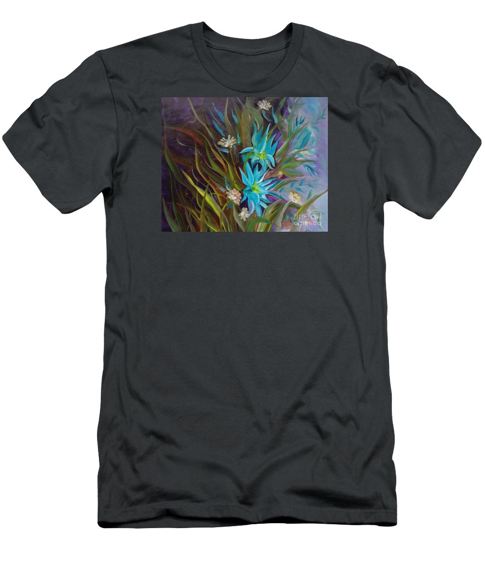Tropical Floral Men's T-Shirt (Athletic Fit) featuring the painting Tropical Blue by Jenny Lee