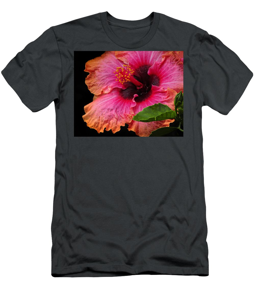 Hibiscus Men's T-Shirt (Athletic Fit) featuring the photograph Tropical Hibiscus by Dave Mills