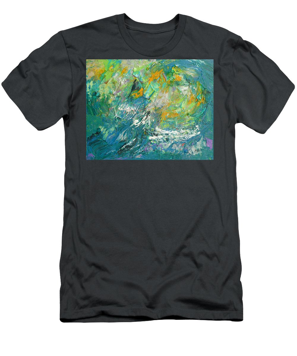 Bold Abstract Men's T-Shirt (Athletic Fit) featuring the painting Tropical Storm by Donna Blackhall
