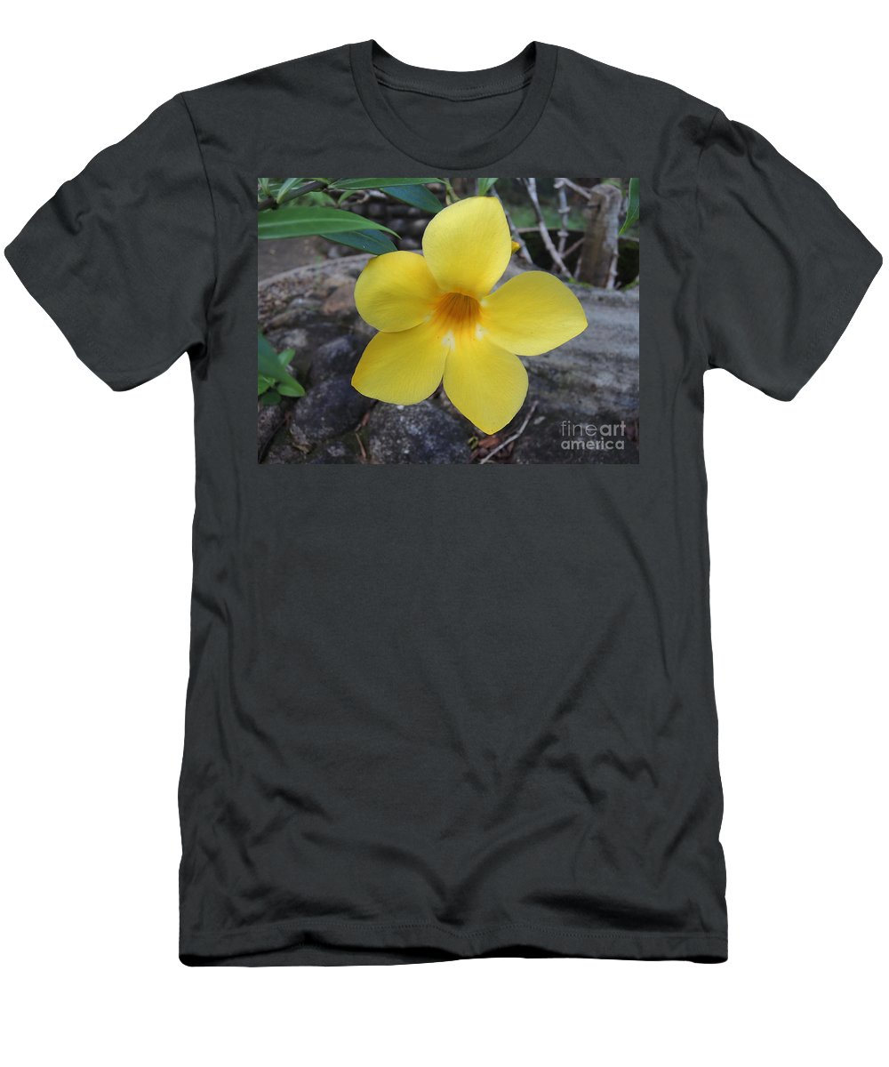 Tropical Men's T-Shirt (Athletic Fit) featuring the photograph Tropical Yellow Flower by Mini Arora