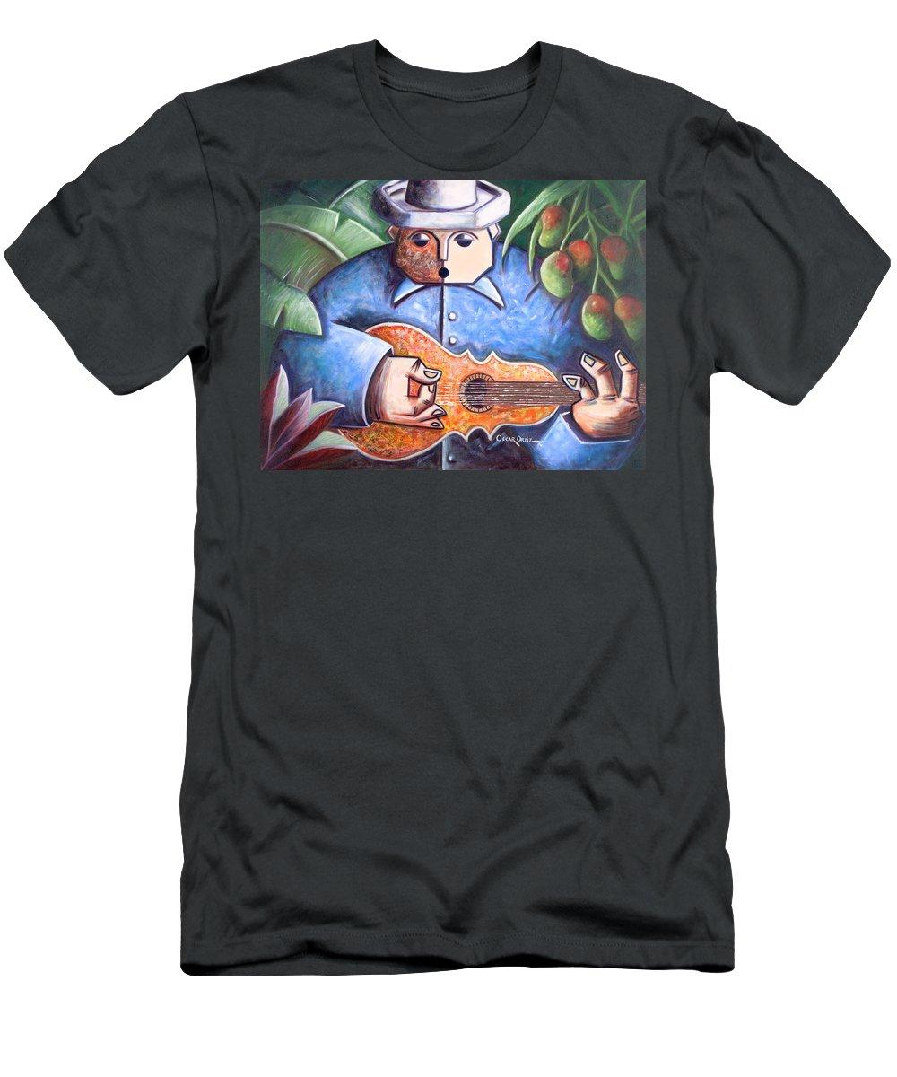 Puerto Rico T-Shirt featuring the painting Trovador de mango bajito by Oscar Ortiz