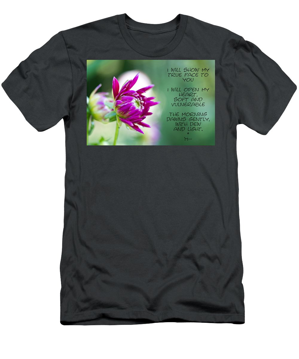 Poem Men's T-Shirt (Athletic Fit) featuring the photograph True Face - Poem - Flower by Marie Jamieson