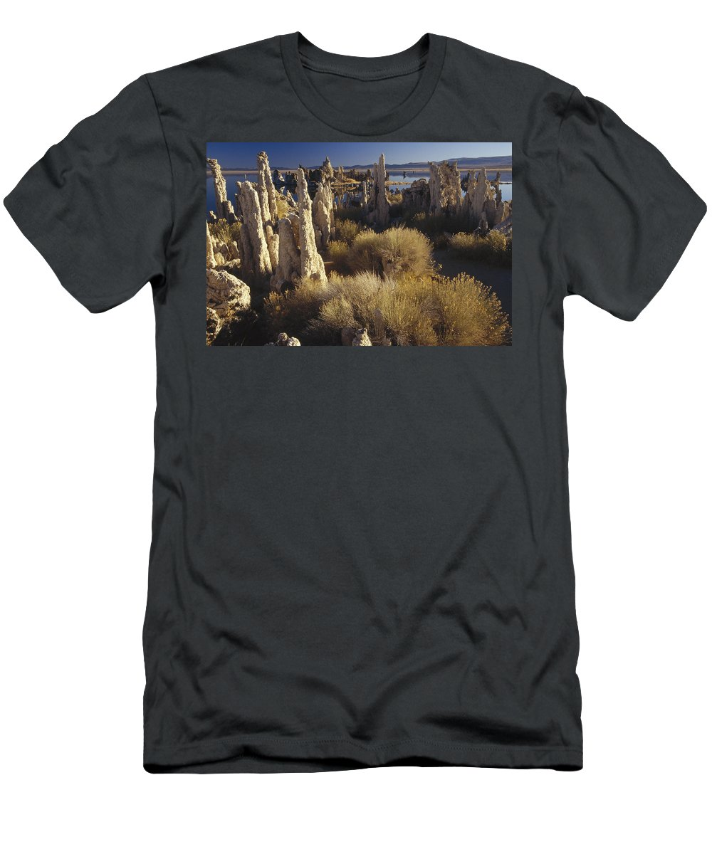 Feb0514 Men's T-Shirt (Athletic Fit) featuring the photograph Ttufa Formations Mono Lake California by Gerry Ellis