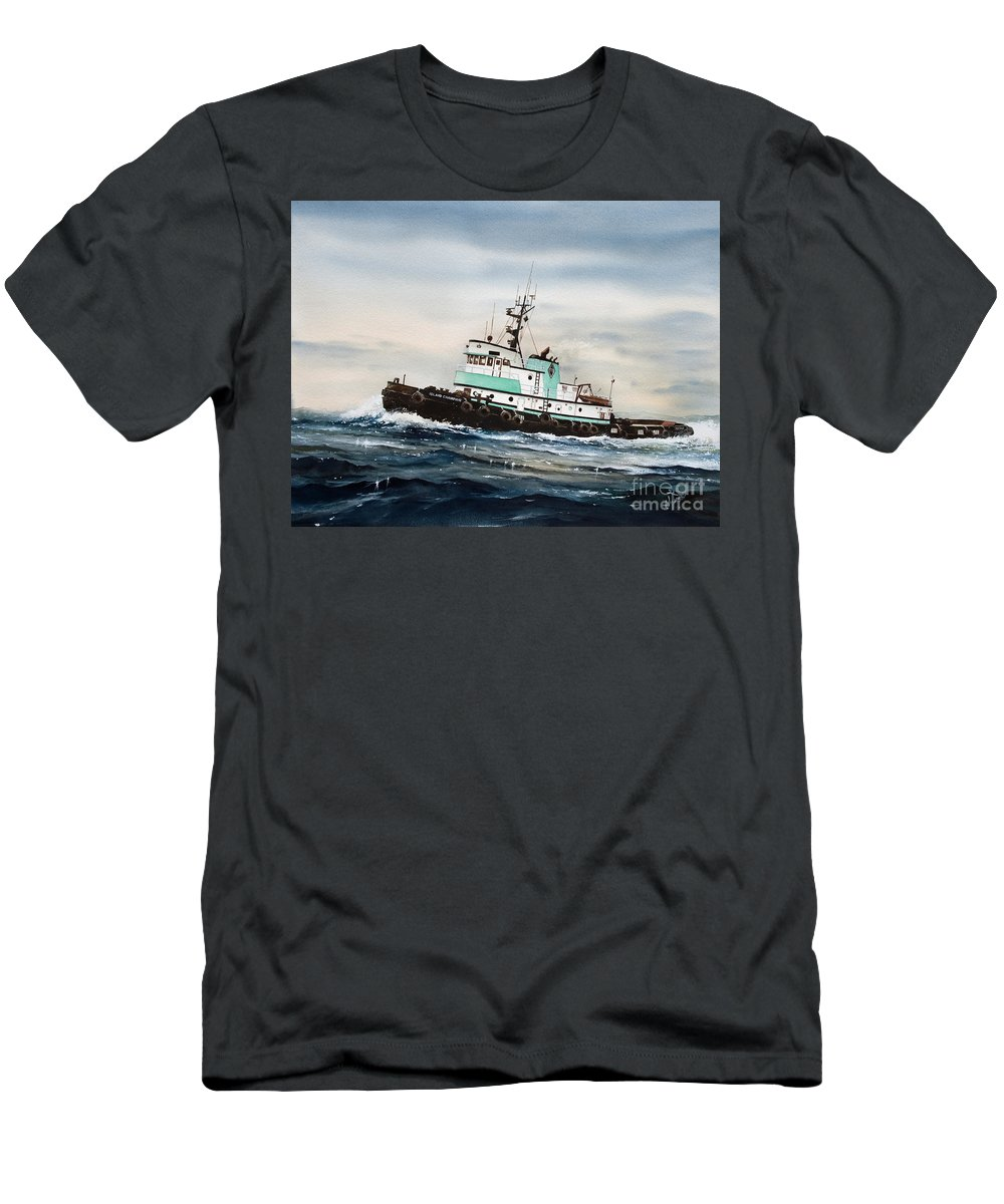 Tugs Men's T-Shirt (Athletic Fit) featuring the painting Tugboat Island Champion by James Williamson