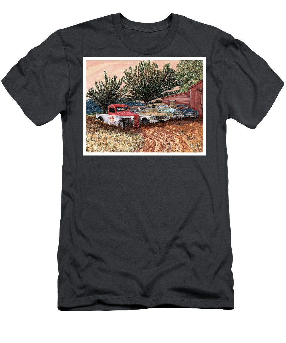 Classic Car Art Men's T-Shirt (Athletic Fit) featuring the painting Tularosa Motors by Jack Pumphrey