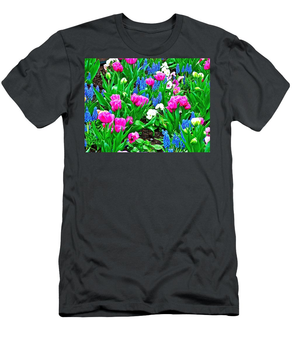 Tulips And Pansies And Grape Hyacinths By Lutheran Cathedral Of Helsinki Men's T-Shirt (Athletic Fit) featuring the photograph Tulips And Pansies And Grape Hyacinth By Lutheran Cathedral Of Helsinki-finland by Ruth Hager