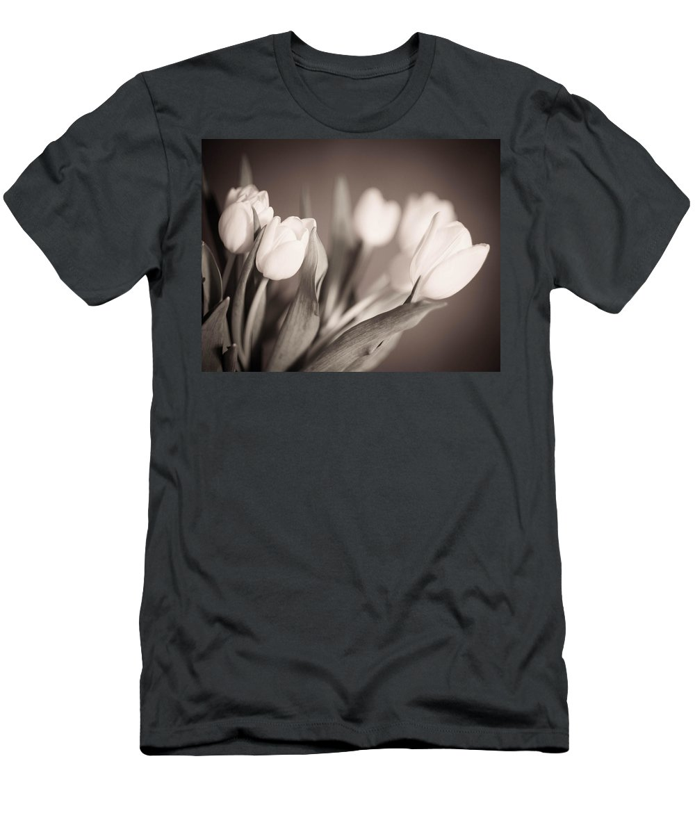 Blackandwhite Men's T-Shirt (Athletic Fit) featuring the photograph Tulips by Zina Zinchik