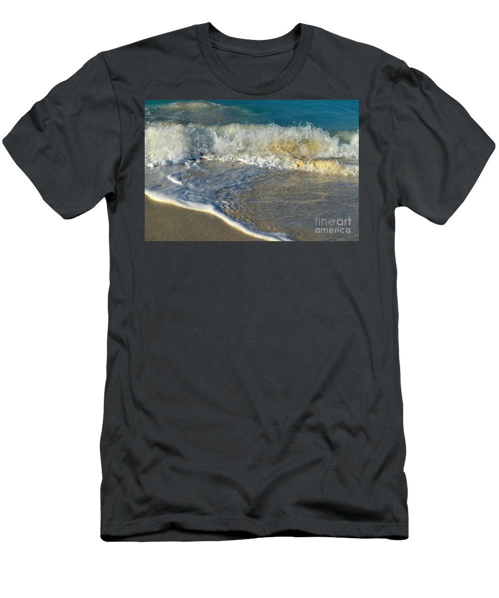 Turks And Caicos Men's T-Shirt (Athletic Fit) featuring the photograph Turk Surf by Judy Wolinsky