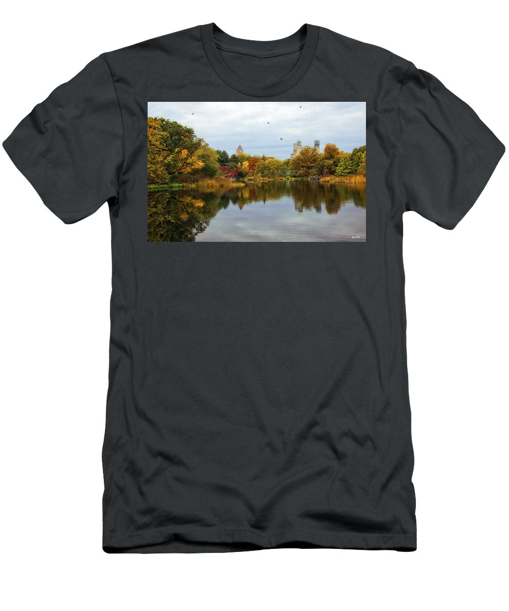 Autumn Men's T-Shirt (Athletic Fit) featuring the photograph Turtle Pond - Central Park - Nyc by Madeline Ellis