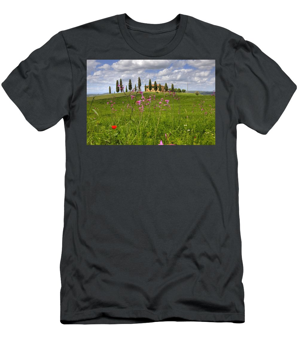 Pienza Men's T-Shirt (Athletic Fit) featuring the photograph Tuscany - Pienza by Joana Kruse