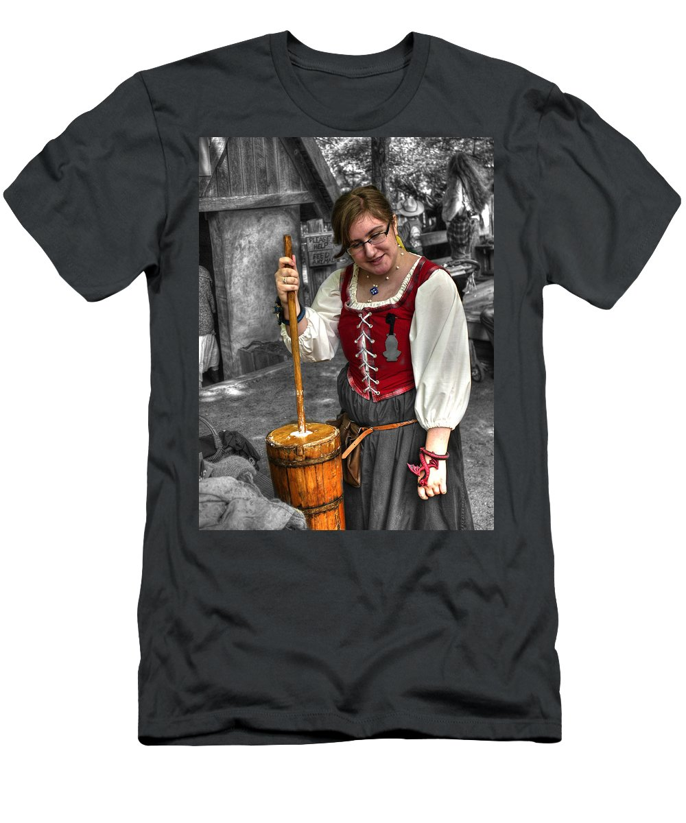 Churn Men's T-Shirt (Athletic Fit) featuring the photograph Tutor Milkmaid Churning Butter V2 by John Straton