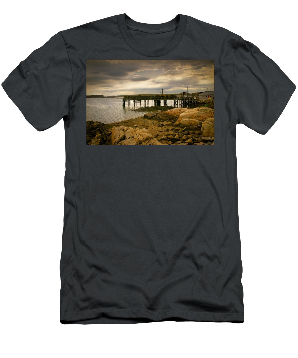 Kennebunk Men's T-Shirt (Athletic Fit) featuring the photograph Twilight Cape Porpoise Maine by Bob Orsillo